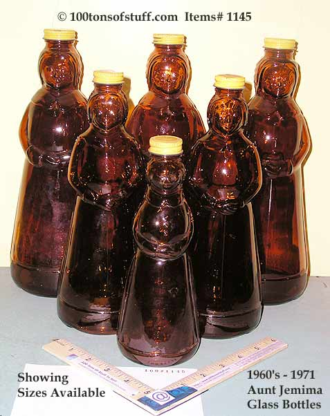 Aunt Jemima Amber Glass Syrup 1960's to 1970's w- metal cap